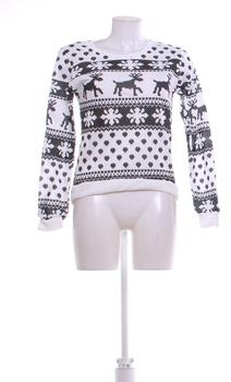 Dámská mikina černobílá vánoční motiv XL