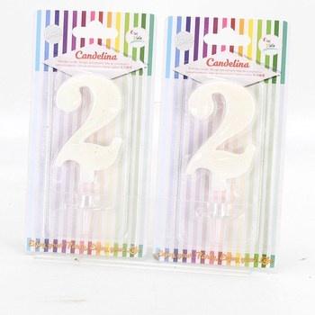 Bílé svíčky Givi Italia Candelina 2 kusy
