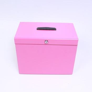 Box uzamykatelný se složkami 37x22 cm růžový