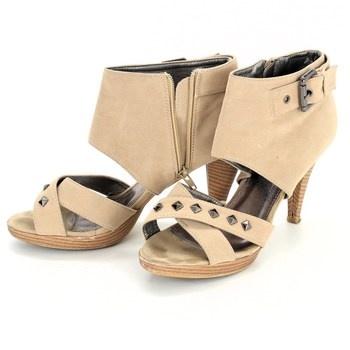 8aef9afa645 Dámské boty na podpatku Lisicode béžové