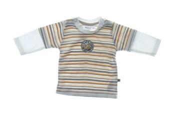 Dětské tričko Okay bílé pruhované s nášivkou