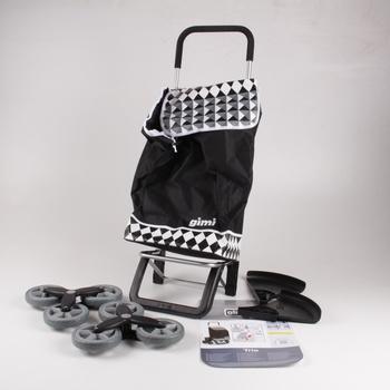 Vozík s nákupní taškou Gimi Tris černobílý