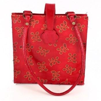 Dámská červená vzorovaná kabelka