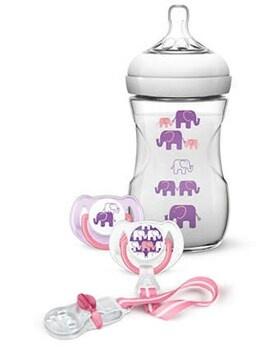Kojenecká sada Avent Natural sloni růžová