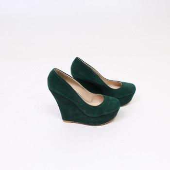 Dámské semišové boty na klínu tmavo-zelené