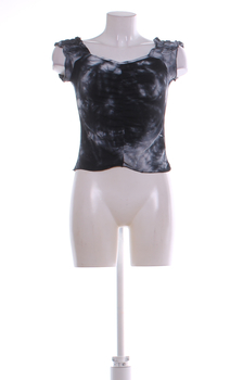 Dámský letní top Fishbone vzor batika černý
