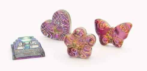 4x svícen - srdce,motýl, čtverec a kytka