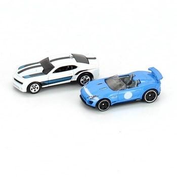 Modely autíček Hot Wheels modré a bílé, 2 ks