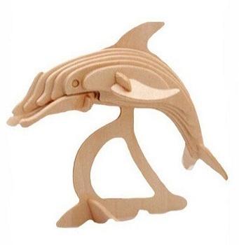 Dětské dřevěné puzzle 3D Delfín
