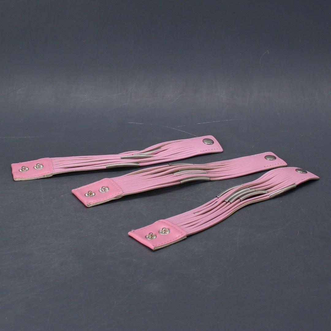 Kožený náramek Pink sada 3 ks