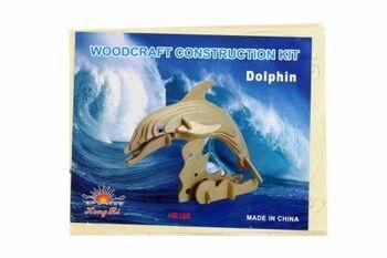Kreativní dřevěné puzzle 3D Delfín