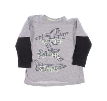 Dětské tričko Pepco šedé s černými rukávy