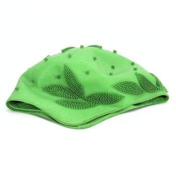 Plavecká čepice s motivem listů zelená
