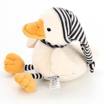 Plyšová hračka kachna s pruhovanou čepicí