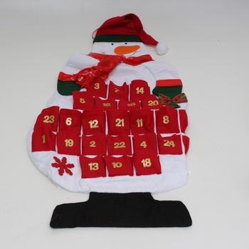 Látkový adventní kalendář sněhulák