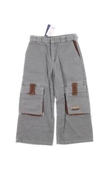 Dětské kalhoty Dada šedé s hnědými detaily