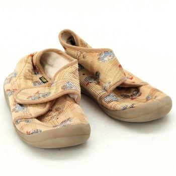 Dětské papuče Fare na suchý zip hnědé