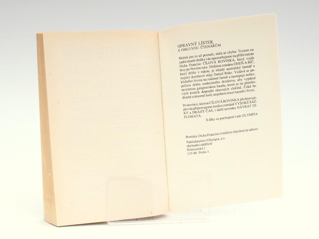 Kniha D. Francis: Oheň a bič