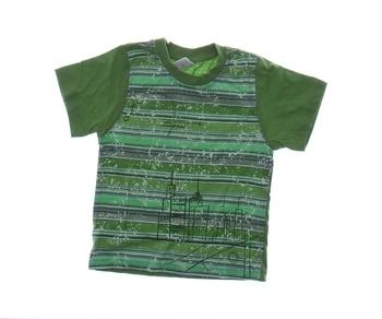 Dětské tričko Artena zelené pruhy s potiskem