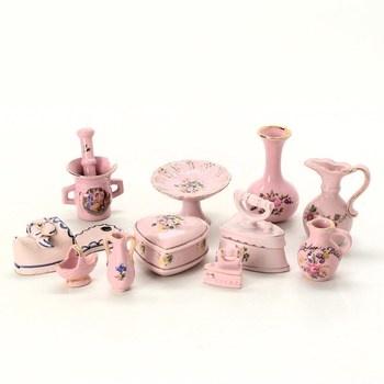 Porcelánová sada sběratelská růžová 11 ks