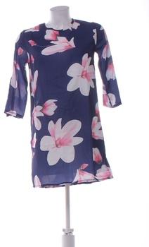 Dámské letní šaty modré motiv květin