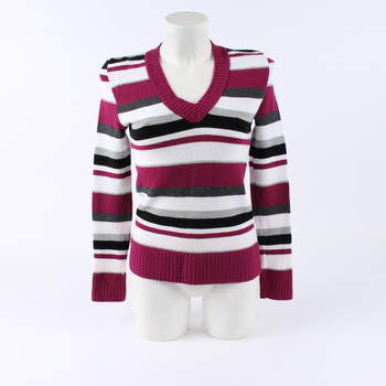 Dámský svetr s barevnými pruhy