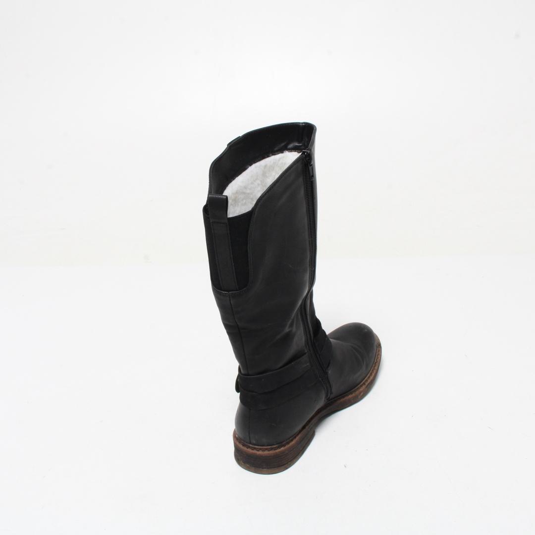 Dámské zimní boty kůže, zip