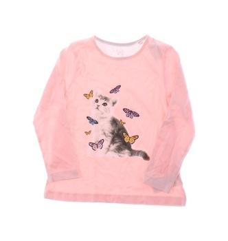 Dětské tričko Lupilu růžové s kočičkou