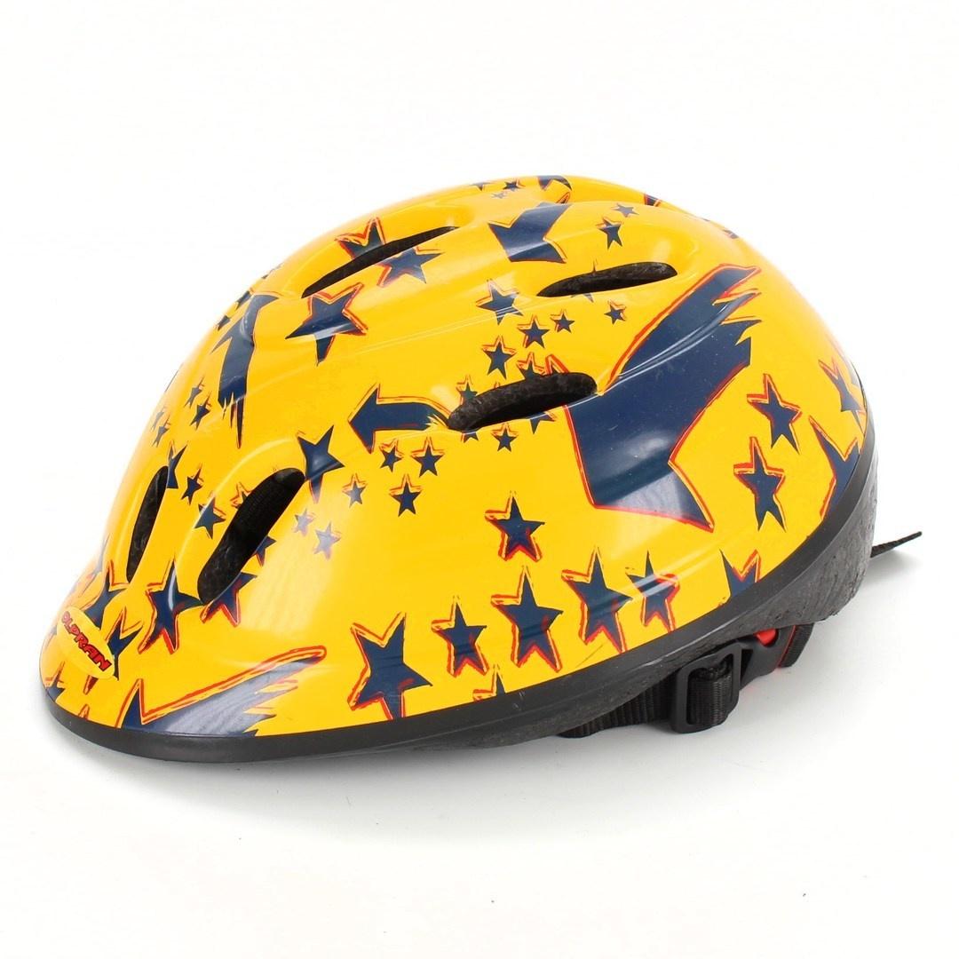 Dětská helma Olpran žlutá s modrými hvězdami
