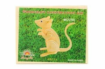 Dětské dřevěné puzzle 3D Myš
