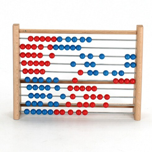 Dřevěné počítadlo červeno-modré