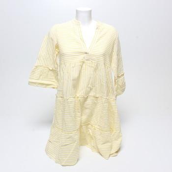 Dámské šaty Vero Moda bílé s žlutými pruhy