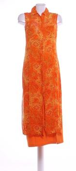 Dámské elegantní šaty Kalamkari oranžové