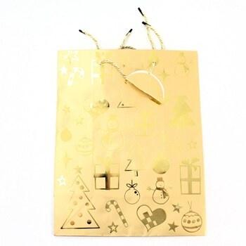 Dárková taška zlatá - vánoční L