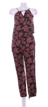 Dámský černý overal Timeout růžové květy