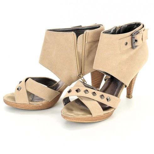 Dámské boty na podpatku Lisicode béžové - bazar  c9de1a5bc8