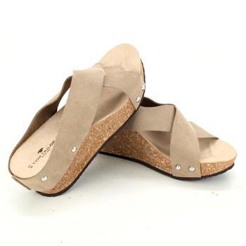 Dámské pantofle na klínu Tom Tailor sand