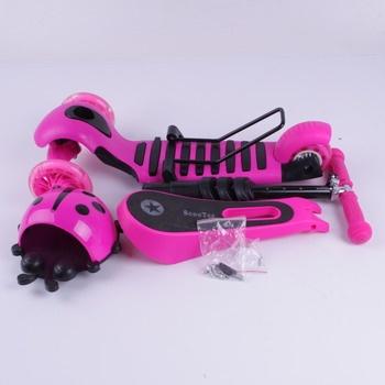 Tříkolka Scooter 3v1 růžová s beruškou