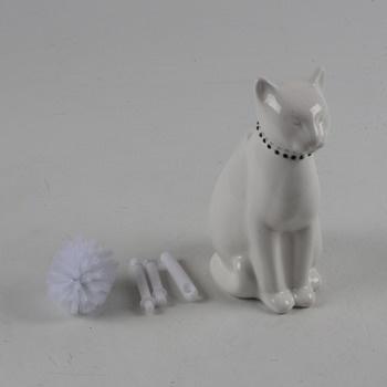 Porcelánový stojánek kočky se štětkou