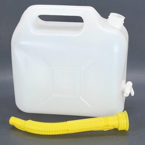 Kanystr na vodu 5 litrů bílý s výpustí